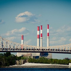 59th Street Bridge (Jeffrey) Tags: nyc newyorkcity bridge sky ny newyork river manhattan pipes smokestacks squareformat eastriver queensborobridge queensboro koch 59thstreetbridge edkochqueensborobridge
