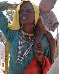 Rajasthan Woman and Child - Pushkar Camel Festival, Pushkar, Rajasthan, India
