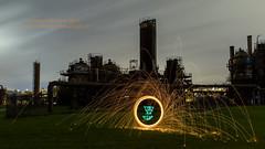 Steel Wool-O-Lantern (Brendinni) Tags: seattle nightphotography lightpainting halloween night clouds cloudy unique steel gasworks gasworkspark steelwool seattlewa