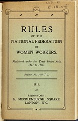 Rulebook: National Federation of Women Workers1911