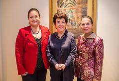Mrs. Maria Elena Sada, LACO à la carte chair and board member Mahnaz Newman and the Honorable Liliana Cino