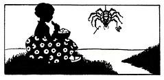 Miss Muffet (katinthecupboard) Tags: silhouettes poems nurseryrhyme mothergoose vintagechildrensillustrations maryellsworth vintagechildrenspoetry ellsworthmary
