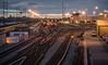 LA Metro Yard (fhoerr) Tags: railroad sunset reflections la twilight nikon industrial nightshot tracks bridges trains downtownla dtla atdusk losangelesriver lariver downtownlosangeles d610 laskyline fredhoerr
