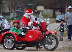 The Coast is Clear Santa (pjpink) Tags: santa christmas winter red festive virginia december elf motorcycle williamsburg santaclaus sidecar christmasy christmassy 2015 pjpink