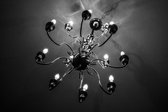 Chandelier (Evan's Life Through The Lens) Tags: camera sony a7s lens glass 50mm f18 fe af black white mono bw contrast dark light bright exposure