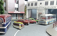 Millford Central Bus & Coach Station. (ManOfYorkshire) Tags: diorama 176 scale model models diecast atlas oxford oxforddiecast coach coaches bus buses millford town centre buscoachstation busstation ledgrad southnotts plaxton duple roadmaster royal tiger leyland leopard