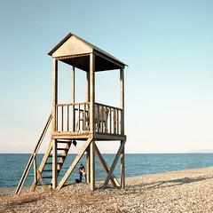 Baywatch selfie (Jeszyna) Tags: greece crete rapaniana baywatch watchtower beach pebbles sea seaside sundown