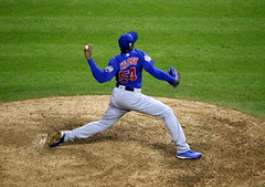 Cubs reliever Aroldis Chapman delivers a pitch in the eighth inning. (apardavila) Tags: postseason wordseries aroldischapman baseball chicagocubs majorleaguebaseball mlb progressivefield sports worldseries
