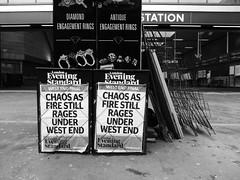 Chaos as fire still rages under West End (duncan) Tags: eveningstandard newspaperheadline london blackandwhite