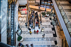 Up and Down (stefanws) Tags: california interior people pov sanfrancisco mall shopping nikond750 escalator westfieldcentre downtown shoppers group crowd