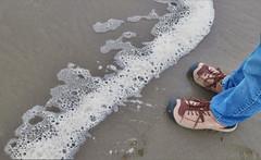 Approaching Foam (sea turtle) Tags: oregon seaside beach ocean pacific pacificocean people water sand shoes feet foam surf