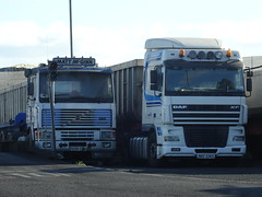 Volvo F10 and DAF XF Rigs, Sinclair Rd, November 2016 (nathanlawrence785) Tags: north belfast pollock dock gotto wharf ship vessel truck tipper coal digger volvo f10 daf xf larsen rms ruhrort royal navy nato hms duncan type 45 destroyer grey crane
