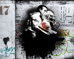 homage: hart II (hoolia14oh4) Tags: altered collage interpretation joelhart graffiti grunge kiss embrace love passion heart