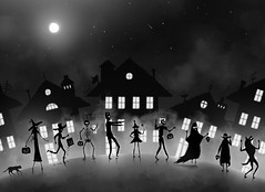 Trick or Treat (Shmoonify) Tags: halloween happyhalloween trickortreat trick treat ghost spooky horror witch frankenstein vampire dracula monster zombie cat cats blackcat blackcats werewolf costumes costume halloweencostumes halloweencostume cowboy dressup fairyprincess princess fairy skelleton skellington skull houses trickortreating night nighttime moon fullmoon storybook illustration digitalart digitaldrawing digitalillustration
