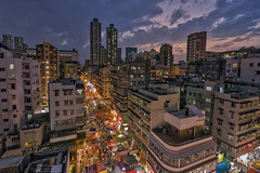Sham Shui Po, Hong Kong (mikemikecat) Tags:  sham shui po shamshuipo kowloon hongkong nightscapes estates a7r nostalgia house mikemikecat architecture sony stacked building colorful housing pattern        block hong kong cityscapes street nightview night    evening  twilight vintage rooftop carlzeiss nightscape   sel1635z fe1635mm  market village  magicmoment handheld