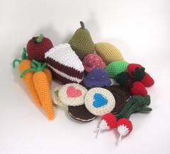 Wyatt's play food (Ruth & Hazel) Tags: crochet food toy crocheted carrot radish playfood cake apple cupcake