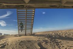 Prepare for touchdown (dorrisd) Tags: stairs beach descend sand zand trap pier scheveningen strand zuidholland netherlands nederland outdoors coast mienekeandewegvanrijn footprints imprints tracks dorrisd patterns dunes duin patronen voetstappen treden denhaag kijkduin thehague