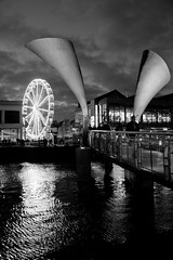 ....just another Pero bridge pic (paulchapmanphotos) Tags: bristol leica m246 monochrom monochrome black white bw summilux 35mm f14 perobridge bigwheel night water reflections harbourside