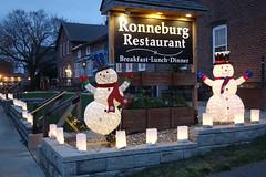 Amana Christmas Season 11-30-16 06 (anothertom) Tags: amanaiowa amanacolonies christmasseason december2016 christmaslights christmasdecorations display sign ronneburg snowmen sonyrx100ii