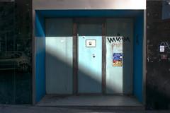 suspended 3 (godelieve b) Tags: blue abandonned fenêtre window light lines formes shapes shadow bleu urban street