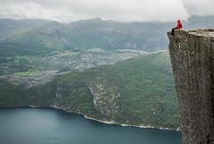Preikestolen (Karol Majewski) Tags: cliff water girl norway clouds valley fjord scandinavia landsacape dolina woda preikestolen rogaland lysefjord pulpitrock klif dziewczyna chmury ryfylke kobieta krajobraz norwegia skandynawia