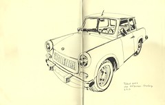 Trabant 1601S chez H.H.Services, Strasbourg (lolo wagner) Tags: car sketch voiture strasbourg croquis carrosserie feutres carrossier