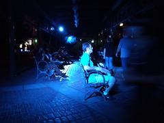 Blue Rest (alpoconfiado) Tags: street blue light 2 motion blur streets brick contrast bench lights exposure sitting streetlights cement streetphotography rest resting manual settings oneplus streetog oneplus2