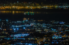 slipping into the sleeping city (pbo31) Tags: sanfrancisco california city november urban black color reflection green fall skyline night port dark oakland bay nikon view over twinpeaks vista eastbay shipping safeway tanker missionbay portofoakland 2015 boury pbo31 d810