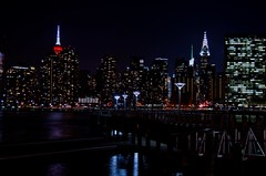 New York Evening Skyline (Lojones13) Tags: city newyork water skyline night lights evening cityscape waterfront manhattan