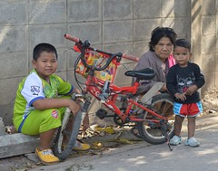 boys, bicycle and grandma (the foreign photographer - ) Tags: grandma two boys bicycle thailand nikon grandmother bangkok 63 soi bangkhen d3200 phahoyolthin dec192015nikon