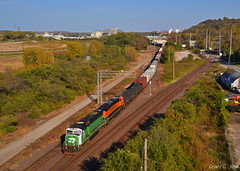 "Westbound Transfer in Kansas City, MO (""Righteous"" Grant G.) Tags: bnsf burlington northern railroad railway locomotive power emd city kansas missouri train trains west westbound up union pacific transfer yard job"