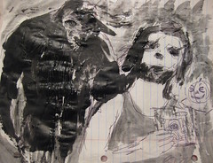 Nuno With A Sasquatch (giveawayboy) Tags: pen crayon drawing sketch art acrylic paint painting tampa artist giveawayboy nunopumpkin nuno sasquatch wmotf mailart pumpkin jackolantern pixies cd doolittle