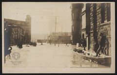 Real Photo Postcard: Flood of 1907, 16th Street (Ohio County Public Library) Tags: wheelingwv wheeling realphotopostcard postcards rppc rppcs floods 1907flood ohioriverflood 16thstreet independencehall customhouse firstenglishlutheranchurch bourywarehouse