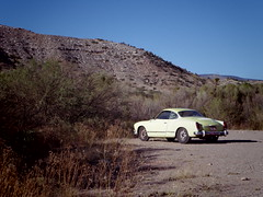Ghia parked at Verde River (EllenJo) Tags: pentaxqs1 october17 2016 ellenjo ellenjoroberts pentax lowertapco karmannghia verderiveratclarkdale verderiveraccess vw volkswagen