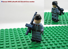 LEGO German WWII Luftwaffe Anti-Aircraft Crew member (dmikeyb) Tags: lego german wwii war minifig minifigure custom soldier weapon uniform luftwaffe recon sniper panzer panzerfaust general officer
