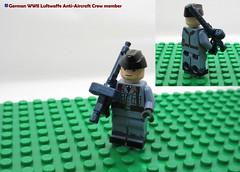 LEGO German WWII Luftwaffe Anti-Aircraft Crew member (dmikeyb) Tags: lego german wwii war minifig minifigure custom soldier weapon uniform luftwaffe recon sniper panzer panzerfaust general officer