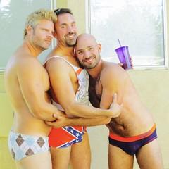 IMG_0223 (danimaniacs) Tags: party shirtless man guy hot sexy hunk bathingsuit trunks speedo bulge smile beard scruff bald hairy