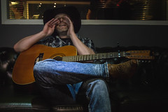Yeeeeehhaaaaaa (NVOXVII) Tags: cowboy countrymusic music guitar cowboyhat lighting recordingstudio boots jeans couch funny lighthearted nikon d3200