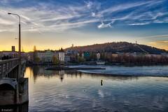 sunset over Smichov, Prague (kadofr) Tags: prague river moldau petrin czechia czphoto