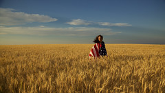 The Hands That Built America (OneLifeOnEarth) Tags: onelifeonearth america womanforpresident vote historyinthemaking americanflag girl grain fieldofgrain sky apromisingfuture
