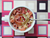 don't eat your heart out II (brescia, italy) (bloodybee) Tags: 365project cup spoon cutlery heart pasta food tablecloth squares pink stilllife