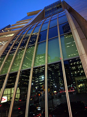 skyline, bent (Ian Muttoo) Tags: img20161026184024edit gimp toronto ontario canada bluehour reflection reflections street