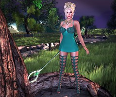 Mistress of the Forest (lauragenia.viper) Tags: catwa desmonia fantasygachacarnival insol izzies jumo laboheme lumipro maitreya musa ncore we3roleplay updo blond blonde avatar secondlife secondlifefashion fantasy thighhighboots staff artifact jewelry crown spikes person outdoor forest mini