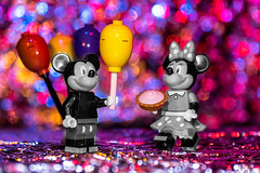 Happy Birthday Mickey (Ballou34) Tags: 2016 7dmark2 7dmarkii 7d2 7dii afol ballou34 canon canon7dmarkii canon7dii eos eos7dmarkii eos7d2 eos7dii flickr lego legographer legography minifigures photography stuckinplastic toy toyphotography toys stuck plastic mickey minnie birthday steamboat willie cake balloon balloons disney courbevoie ledefrance france fr