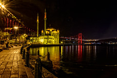 Ortaky Mosque! (acipinarli) Tags: landscape city sea street water travel night light istanbul turkey architecture cityscape lifestyle mosque lights reflections bosphorusbridge colours