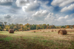 cloudy skies (kderricotte) Tags: hay bales sky clouds wideangle sonya6000 1018mm field grass