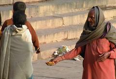 Vendor at a Varanasi ghat (bokage) Tags: india uttarpradesh varanasi benares ghat pilgrim hindu hinduism religion vendor