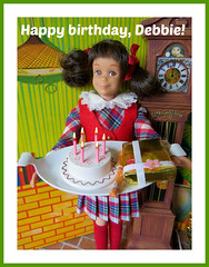 Happy birthday, Debbie!! (Foxy Belle) Tags: skipper scooter doll barbie vintage brunette dress plaid rainy day checkers birthday cake present card happy clock