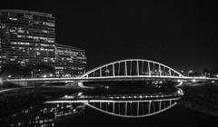 aosborne_proj4_shot4after (AllysonOsborne) Tags: blackandwhite bnw columbusohio nightphotography longexposure mainstbridge mainstbridgecolumbusohio bridges bridge suspensionbridge
