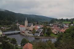 View from Roemberk Castle 02 (smilla4) Tags: sky clouds vltavariver moldau rozemberknadvltavou czechrepublic boats reflection